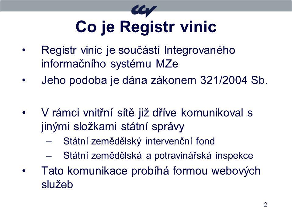 11.4.2017 Co je Registr vinic. Registr vinic je součástí Integrovaného informačního systému MZe. Jeho podoba je dána zákonem 321/2004 Sb.
