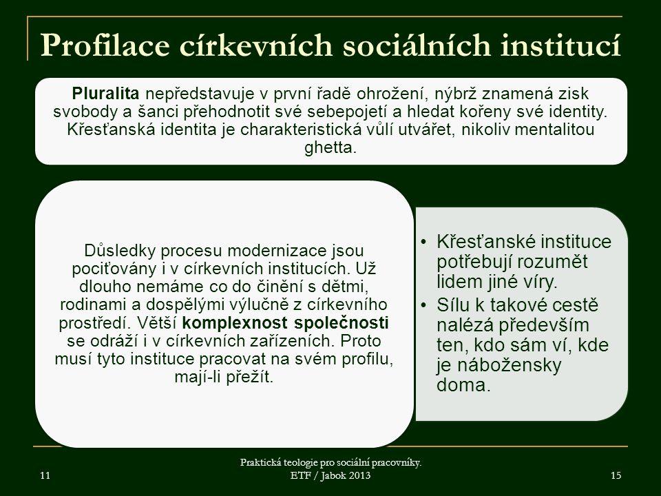 Profilace církevních sociálních institucí