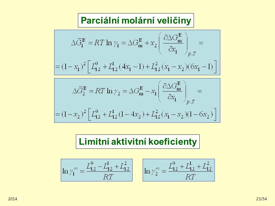 Parciální molární veličiny Limitní aktivitní koeficienty