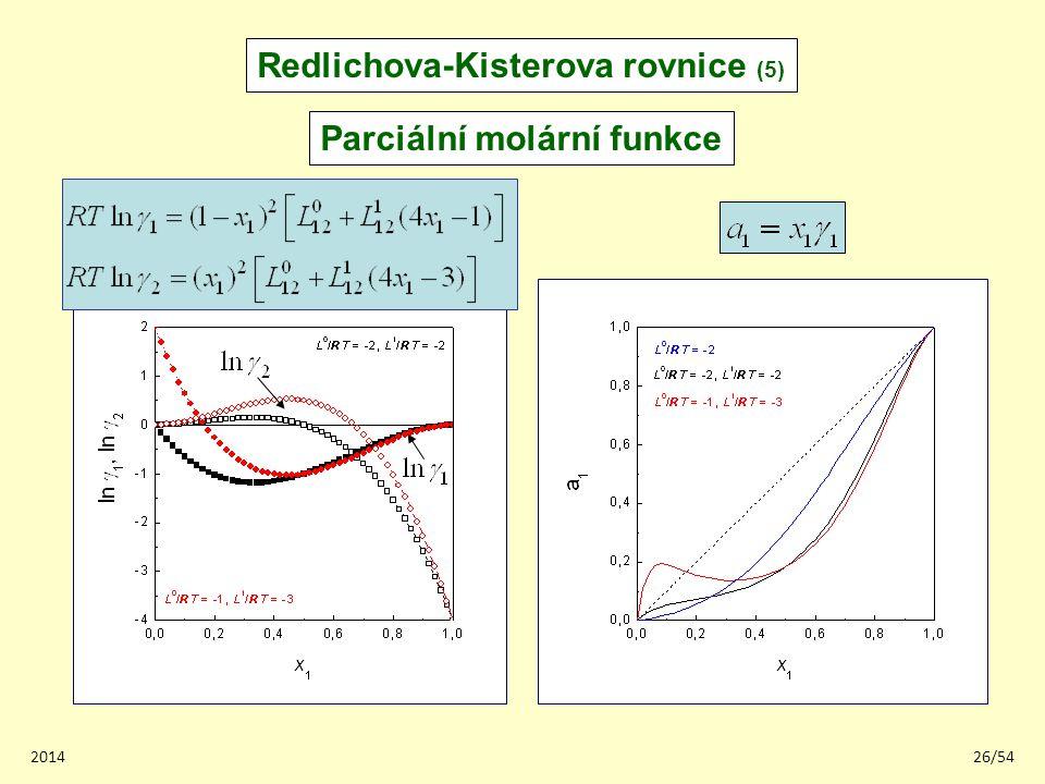 Redlichova-Kisterova rovnice (5) Parciální molární funkce