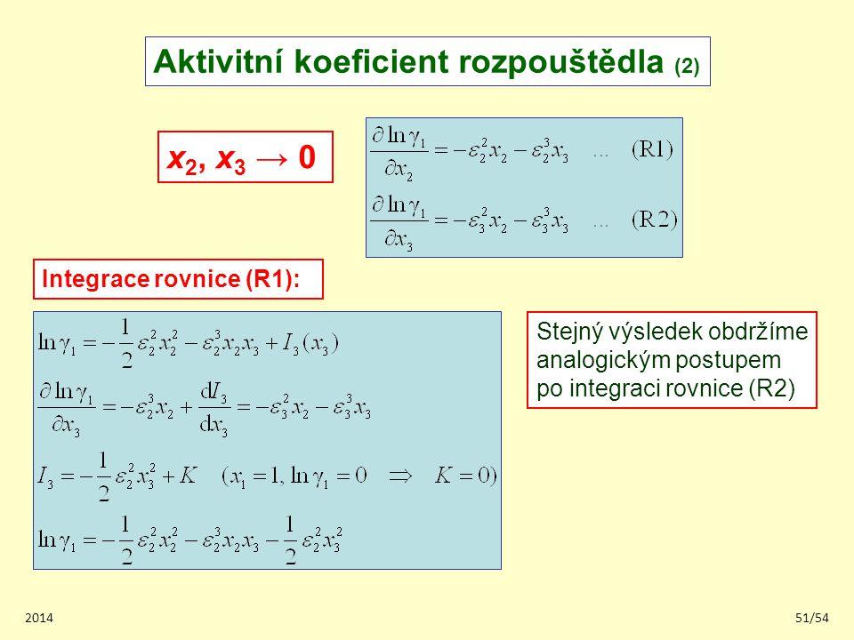 Aktivitní koeficient rozpouštědla (2)