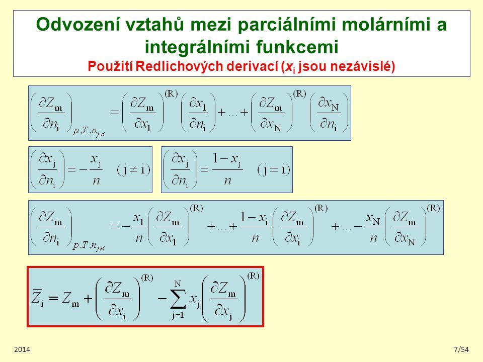 Odvození vztahů mezi parciálními molárními a integrálními funkcemi