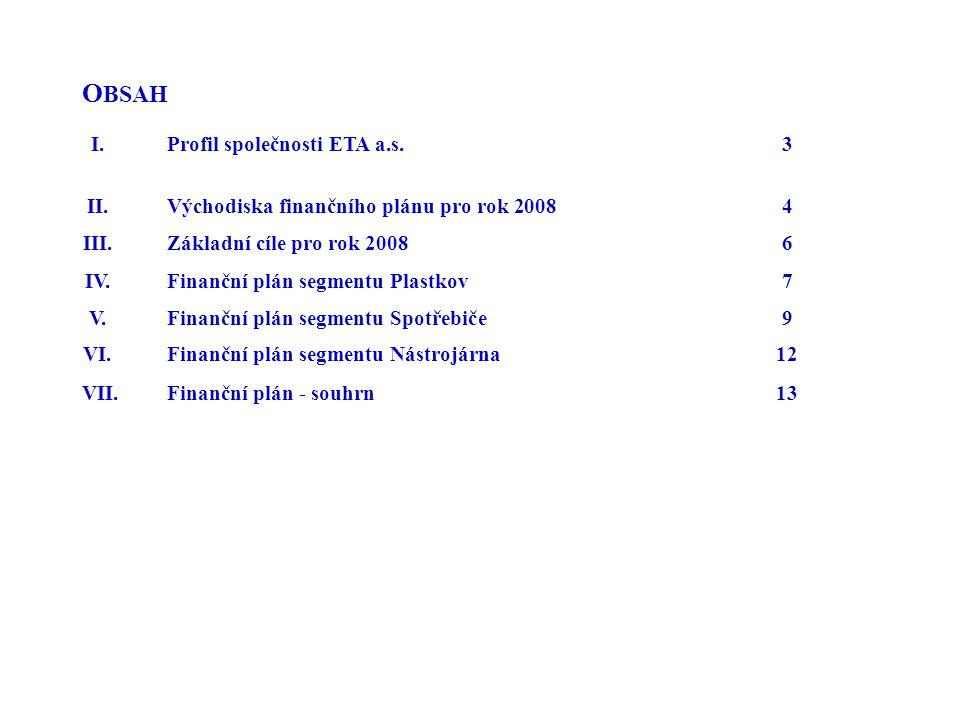 OBSAH I. Profil společnosti ETA a.s. 3