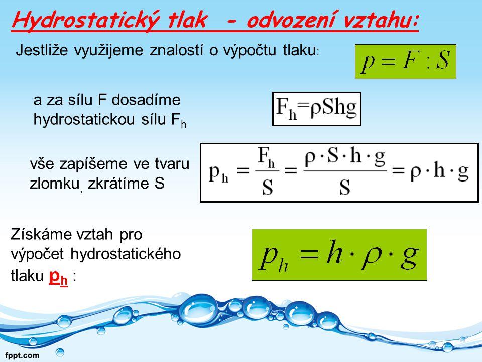 Hydrostatický tlak - odvození vztahu:
