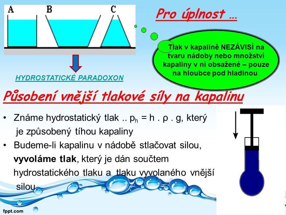 Působení vnější tlakové síly na kapalinu