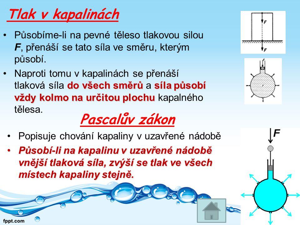 Tlak v kapalinách Pascalův zákon