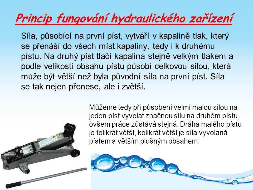 Princip fungování hydraulického zařízení