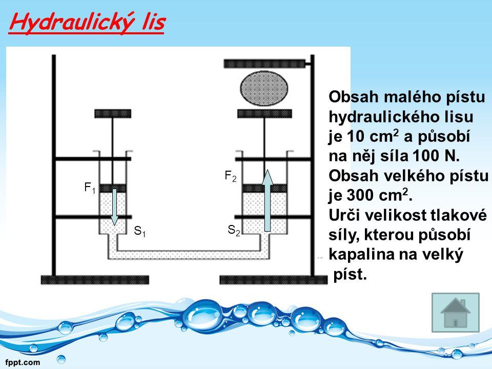 Hydraulický lis Obsah malého pístu hydraulického lisu