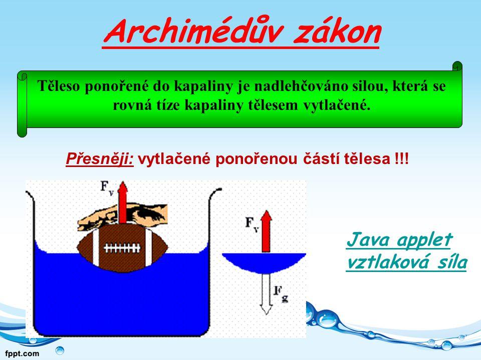 Archimédův zákon Java applet vztlaková síla