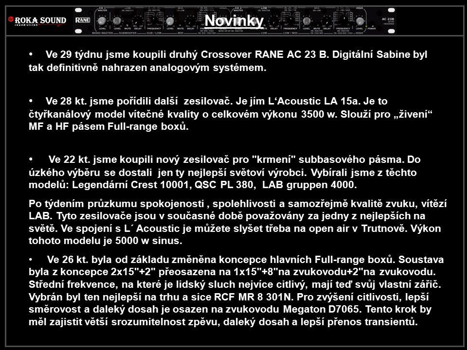 Novinky Ve 29 týdnu jsme koupili druhý Crossover RANE AC 23 B. Digitální Sabine byl tak definitivně nahrazen analogovým systémem.