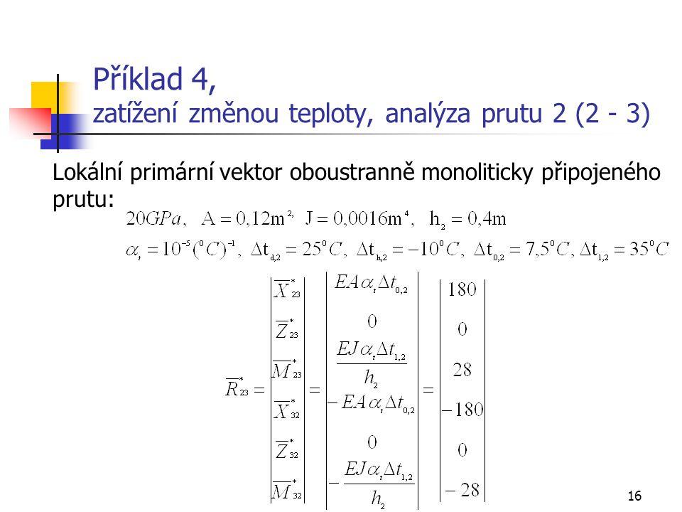 Příklad 4, zatížení změnou teploty, analýza prutu 2 (2 - 3)
