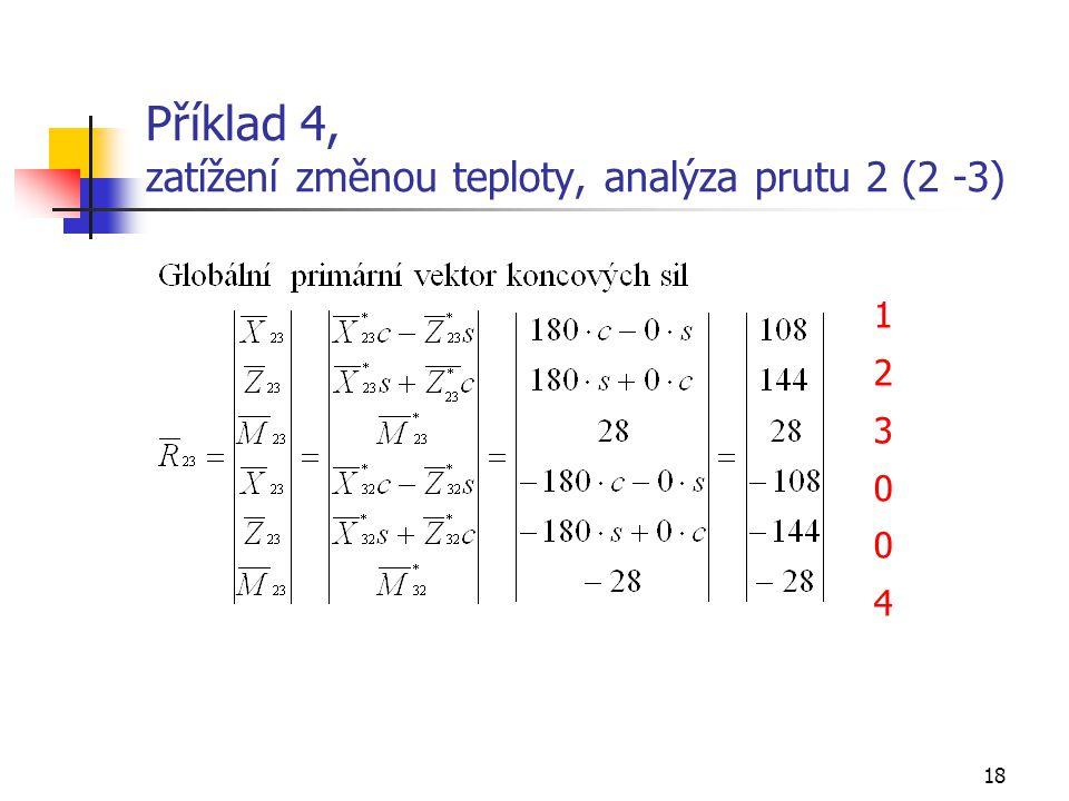 Příklad 4, zatížení změnou teploty, analýza prutu 2 (2 -3)
