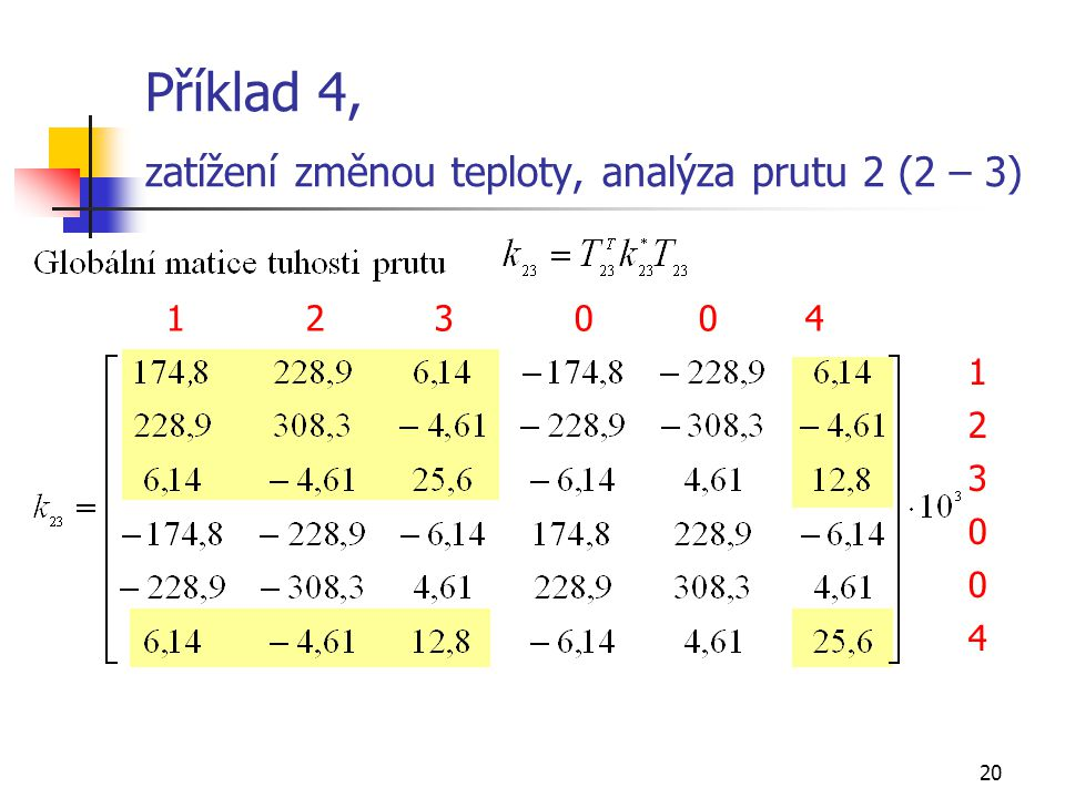 Příklad 4, zatížení změnou teploty, analýza prutu 2 (2 – 3)