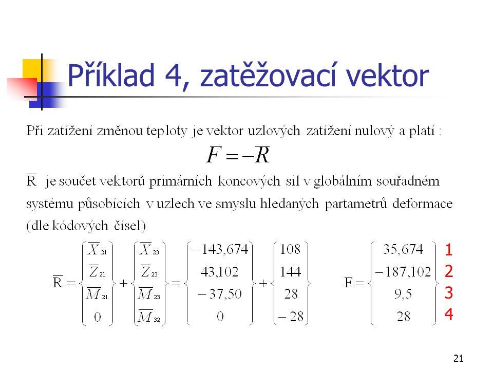 Příklad 4, zatěžovací vektor