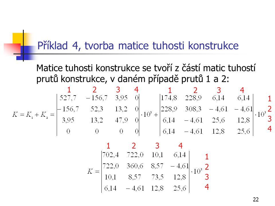 Příklad 4, tvorba matice tuhosti konstrukce
