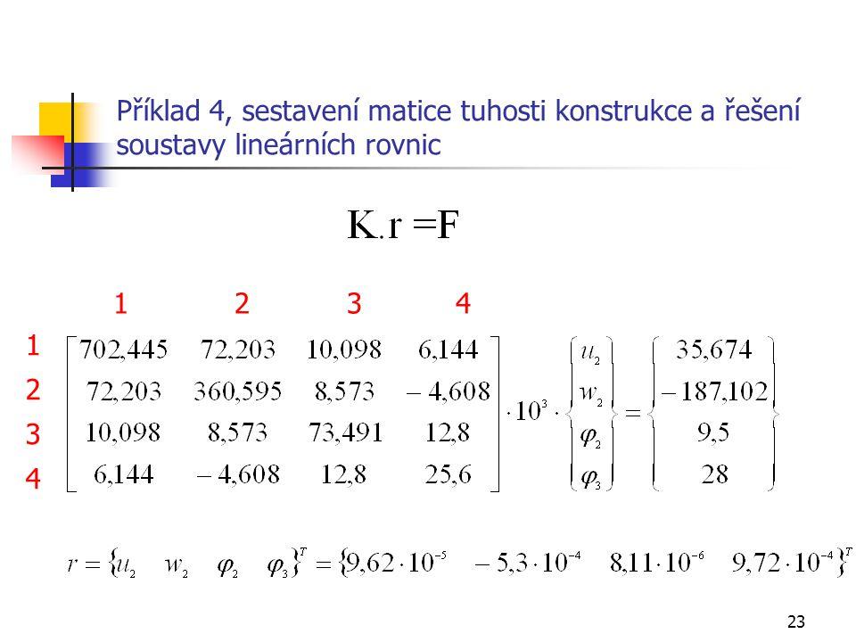 Příklad 4, sestavení matice tuhosti konstrukce a řešení soustavy lineárních rovnic