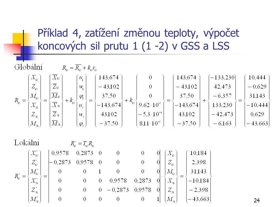 Příklad 4, zatížení změnou teploty, výpočet koncových sil prutu 1 (1 -2) v GSS a LSS