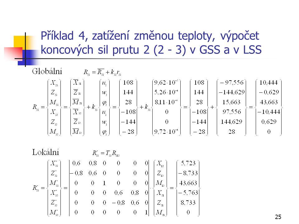 Příklad 4, zatížení změnou teploty, výpočet koncových sil prutu 2 (2 - 3) v GSS a v LSS