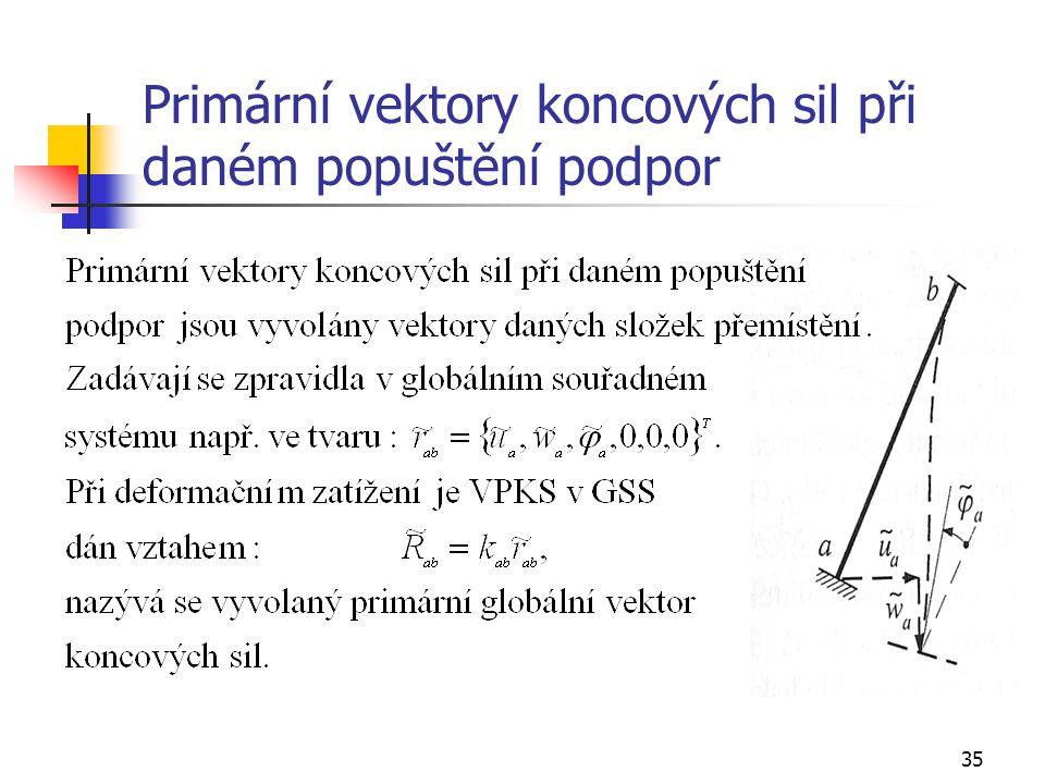 Primární vektory koncových sil při daném popuštění podpor
