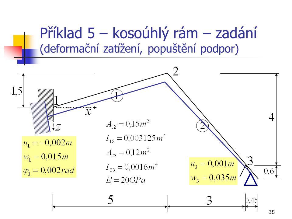 Příklad 5 – kosoúhlý rám – zadání (deformační zatížení, popuštění podpor)
