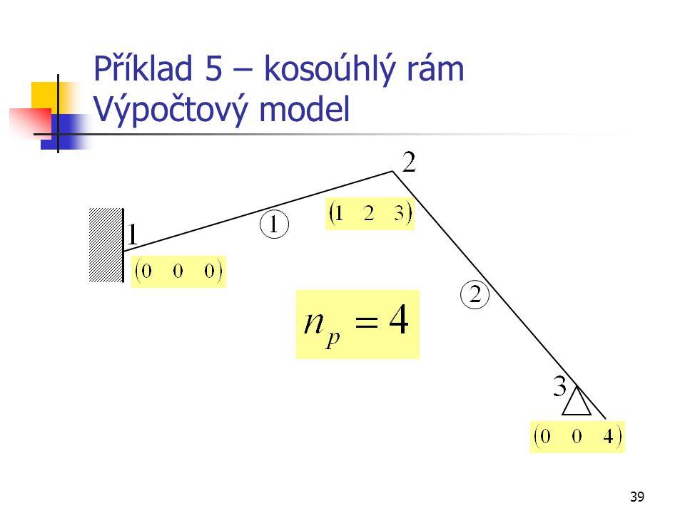 Příklad 5 – kosoúhlý rám Výpočtový model