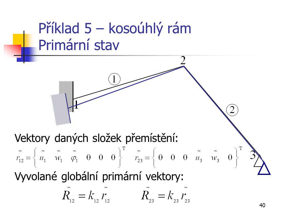 Příklad 5 – kosoúhlý rám Primární stav