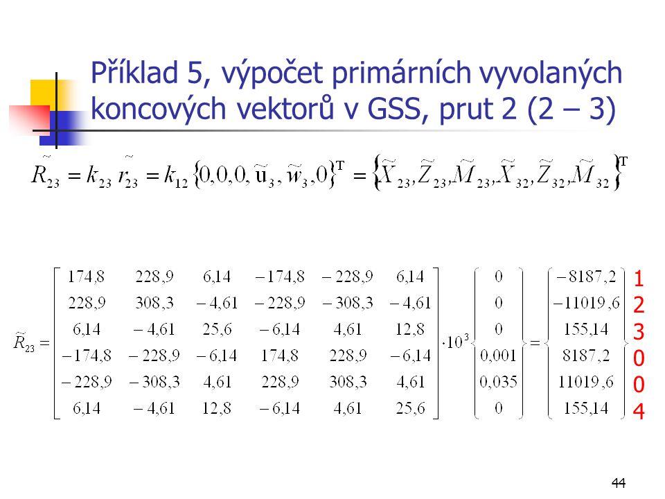 Příklad 5, výpočet primárních vyvolaných koncových vektorů v GSS, prut 2 (2 – 3)