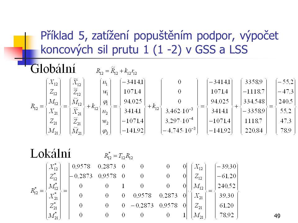 Příklad 5, zatížení popuštěním podpor, výpočet koncových sil prutu 1 (1 -2) v GSS a LSS