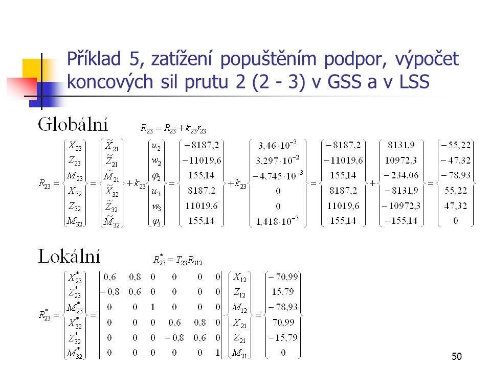 Příklad 5, zatížení popuštěním podpor, výpočet koncových sil prutu 2 (2 - 3) v GSS a v LSS