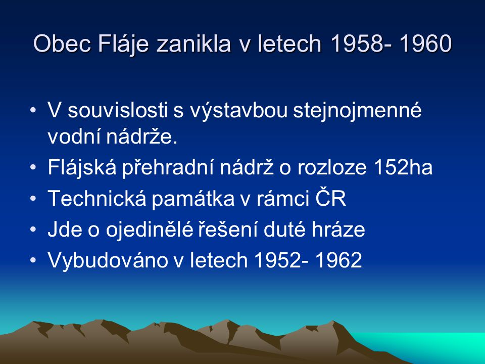 Obec Fláje zanikla v letech 1958- 1960