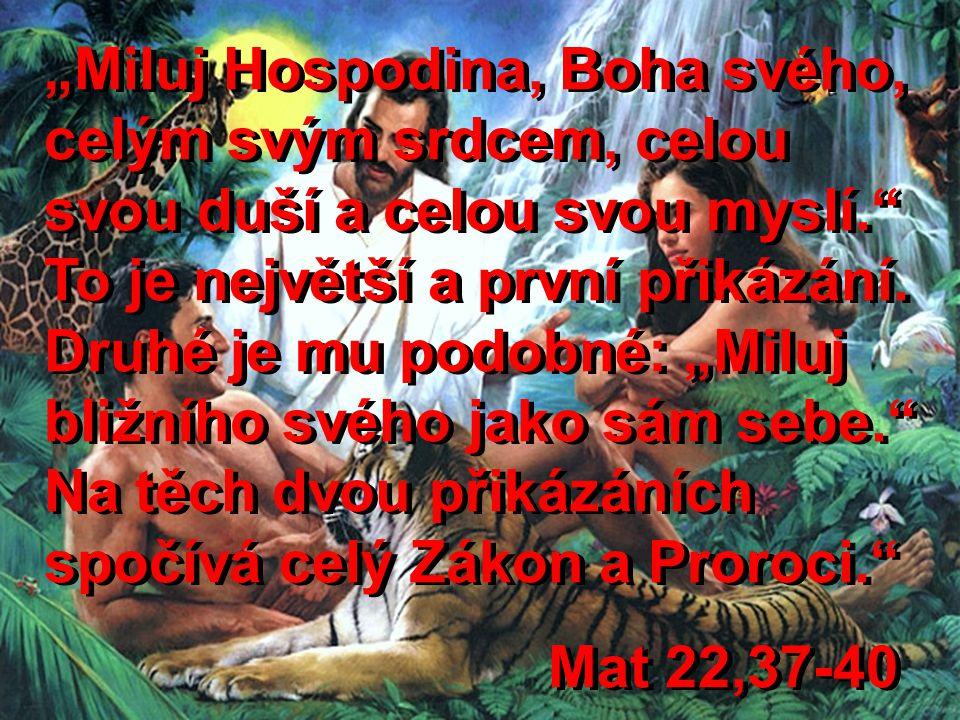 """""""Miluj Hospodina, Boha svého, celým svým srdcem, celou svou duší a celou svou myslí. To je největší a první přikázání. Druhé je mu podobné: """"Miluj bližního svého jako sám sebe. Na těch dvou přikázáních spočívá celý Zákon a Proroci."""