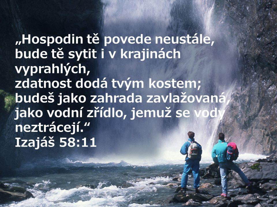 """""""Hospodin tě povede neustále, bude tě sytit i v krajinách vyprahlých, zdatnost dodá tvým kostem; budeš jako zahrada zavlažovaná, jako vodní zřídlo, jemuž se vody neztrácejí. Izajáš 58:11"""