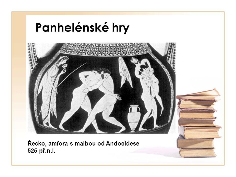 Panhelénské hry Řecko, amfora s malbou od Andocidese 525 př.n.l.