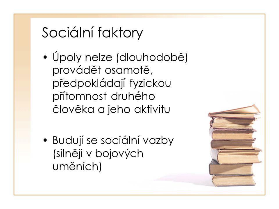Sociální faktory Úpoly nelze (dlouhodobě) provádět osamotě, předpokládají fyzickou přítomnost druhého člověka a jeho aktivitu.