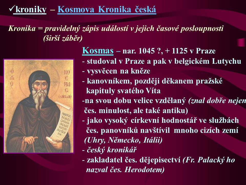 kroniky – Kosmova Kronika česká