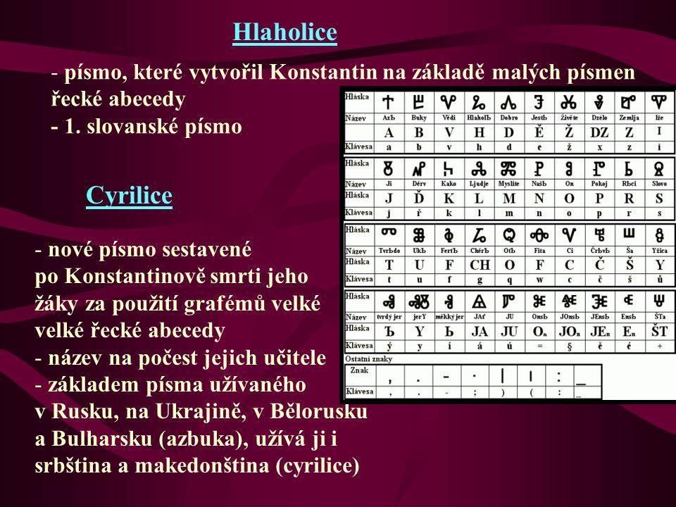 Hlaholice písmo, které vytvořil Konstantin na základě malých písmen. řecké abecedy. - 1. slovanské písmo.