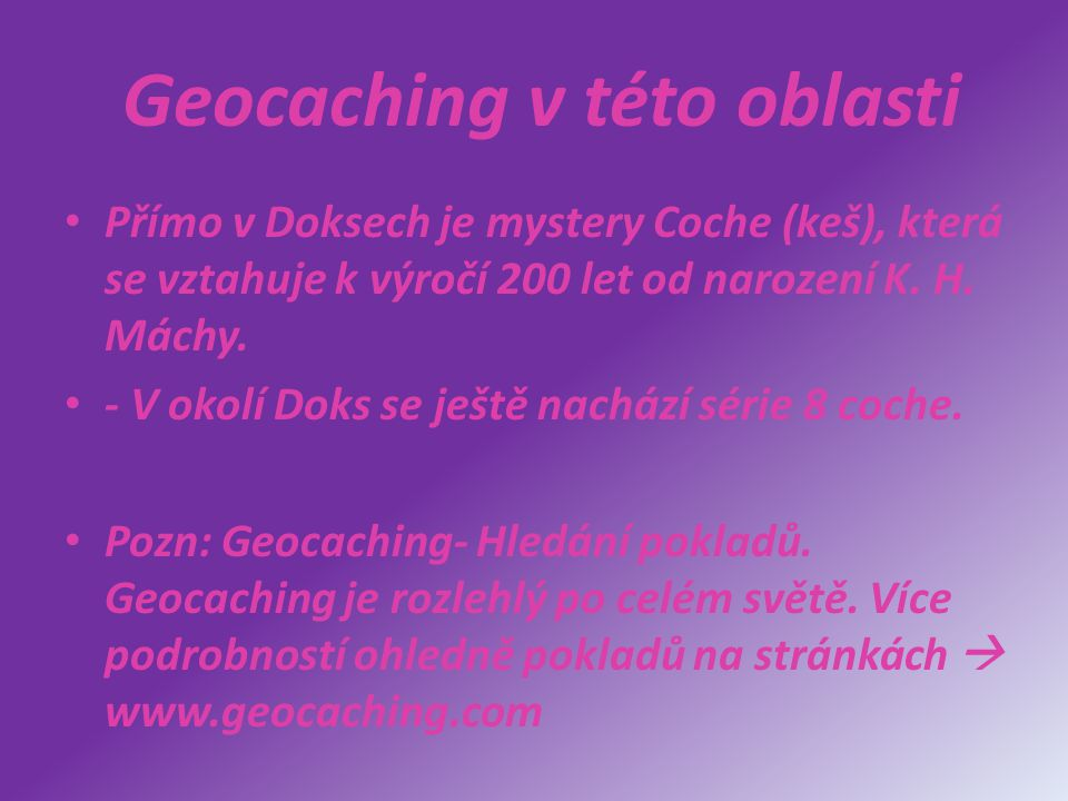 Geocaching v této oblasti