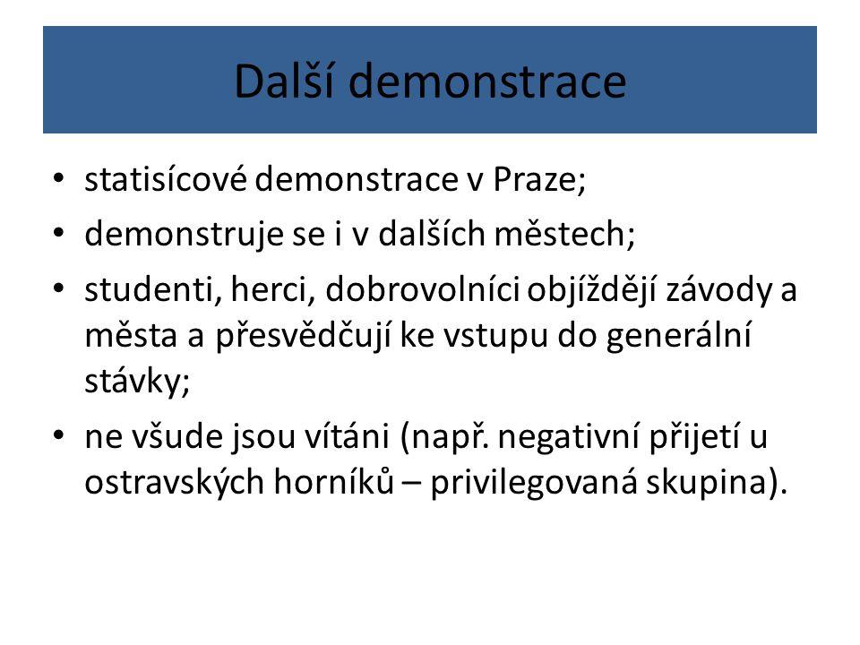 Další demonstrace statisícové demonstrace v Praze;