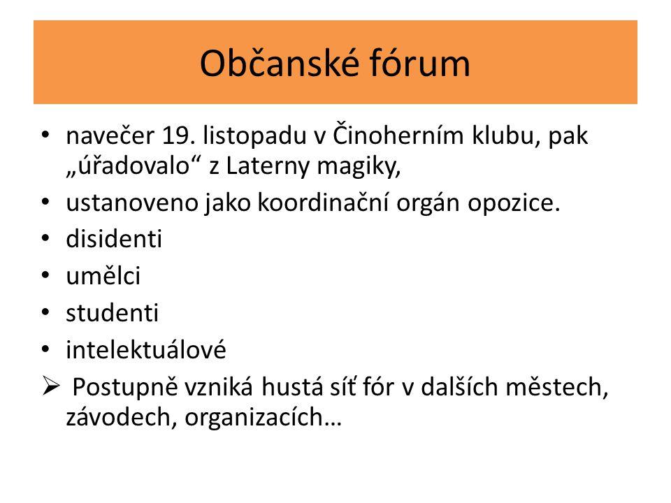 """Občanské fórum navečer 19. listopadu v Činoherním klubu, pak """"úřadovalo z Laterny magiky, ustanoveno jako koordinační orgán opozice."""