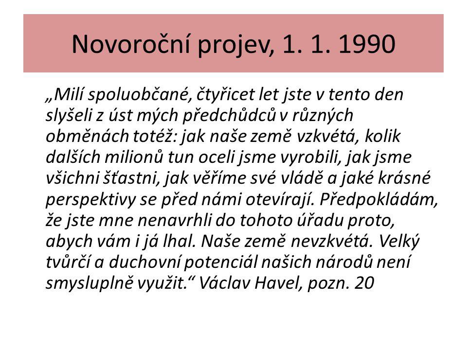 Novoroční projev, 1. 1. 1990