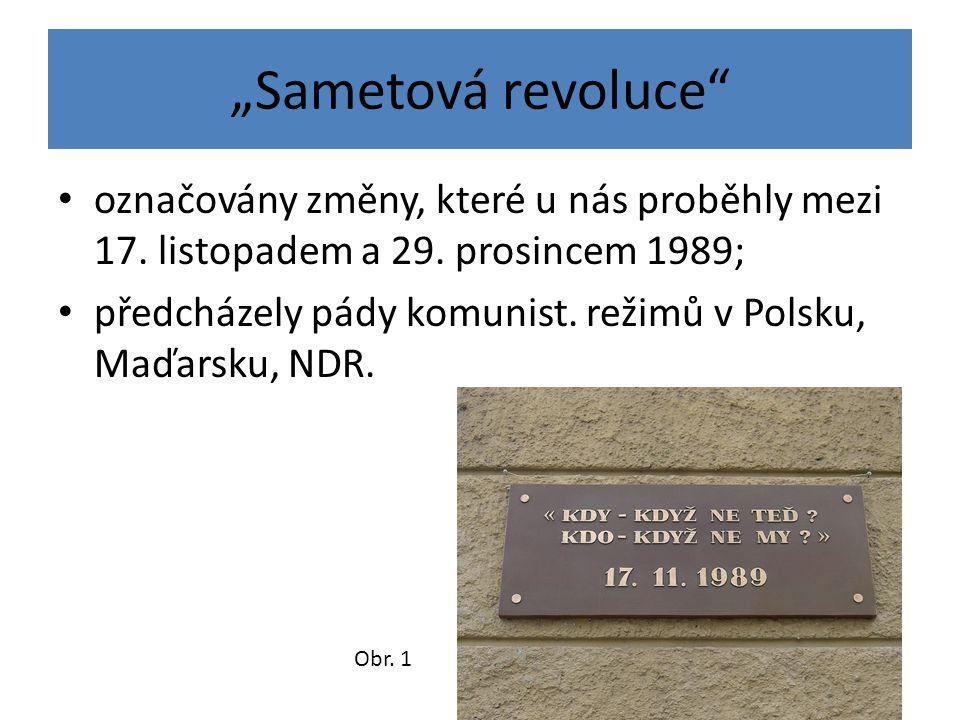 """""""Sametová revoluce označovány změny, které u nás proběhly mezi 17. listopadem a 29. prosincem 1989;"""