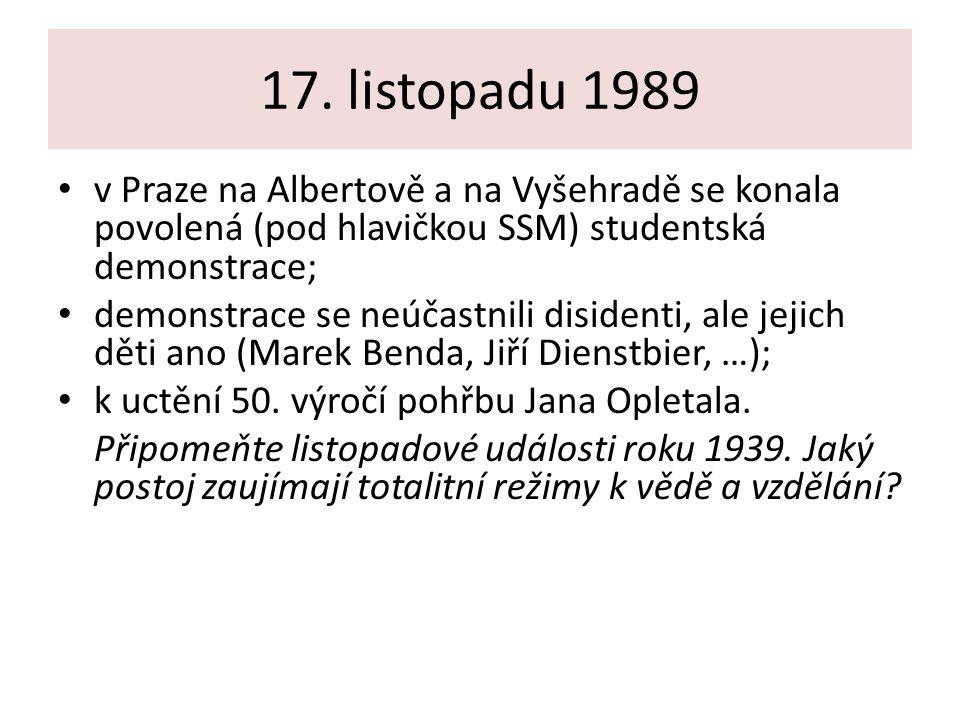 17. listopadu 1989 v Praze na Albertově a na Vyšehradě se konala povolená (pod hlavičkou SSM) studentská demonstrace;