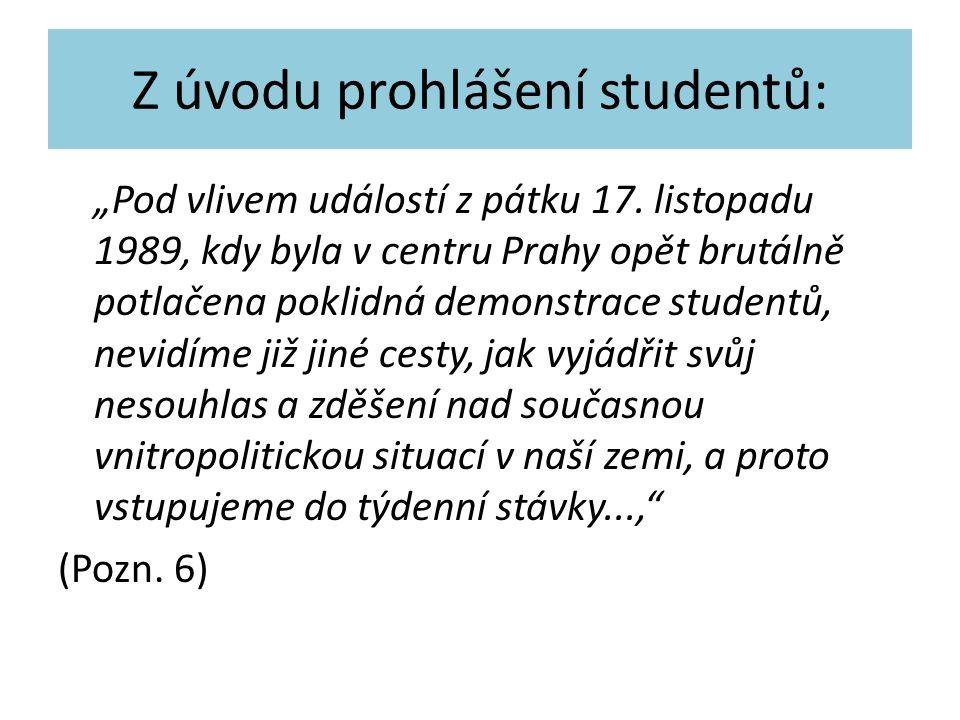Z úvodu prohlášení studentů: