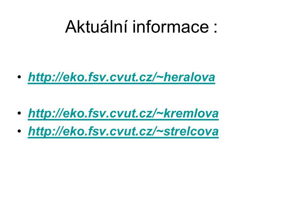 Aktuální informace : http://eko.fsv.cvut.cz/~heralova