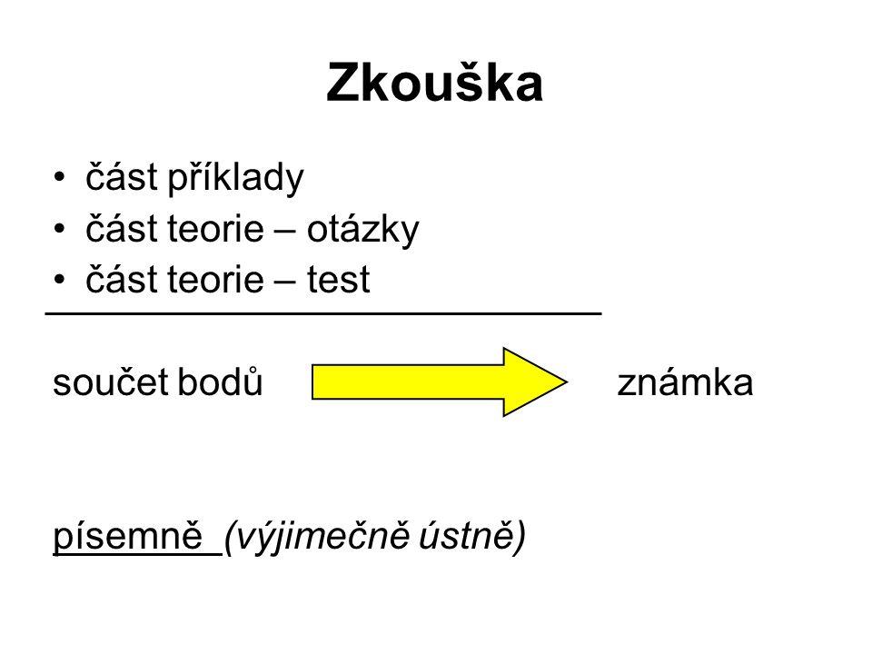 Zkouška část příklady část teorie – otázky část teorie – test