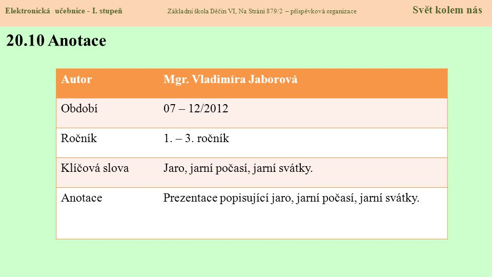 20.10 Anotace Autor Mgr. Vladimíra Jaborová Období 07 – 12/2012 Ročník