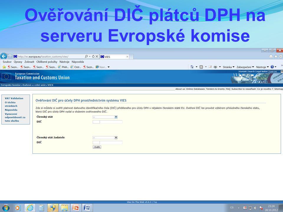 Ověřování DIČ plátců DPH na serveru Evropské komise