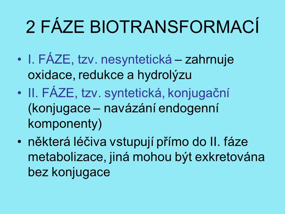 2 FÁZE BIOTRANSFORMACÍ I. FÁZE, tzv. nesyntetická – zahrnuje oxidace, redukce a hydrolýzu.