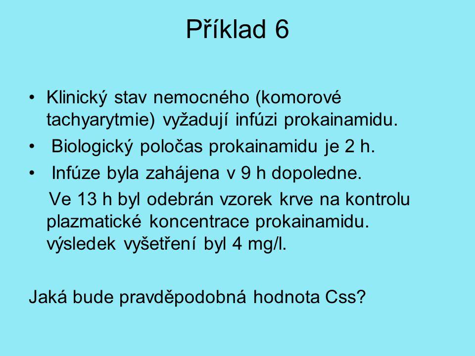 Příklad 6 Klinický stav nemocného (komorové tachyarytmie) vyžadují infúzi prokainamidu. Biologický poločas prokainamidu je 2 h.