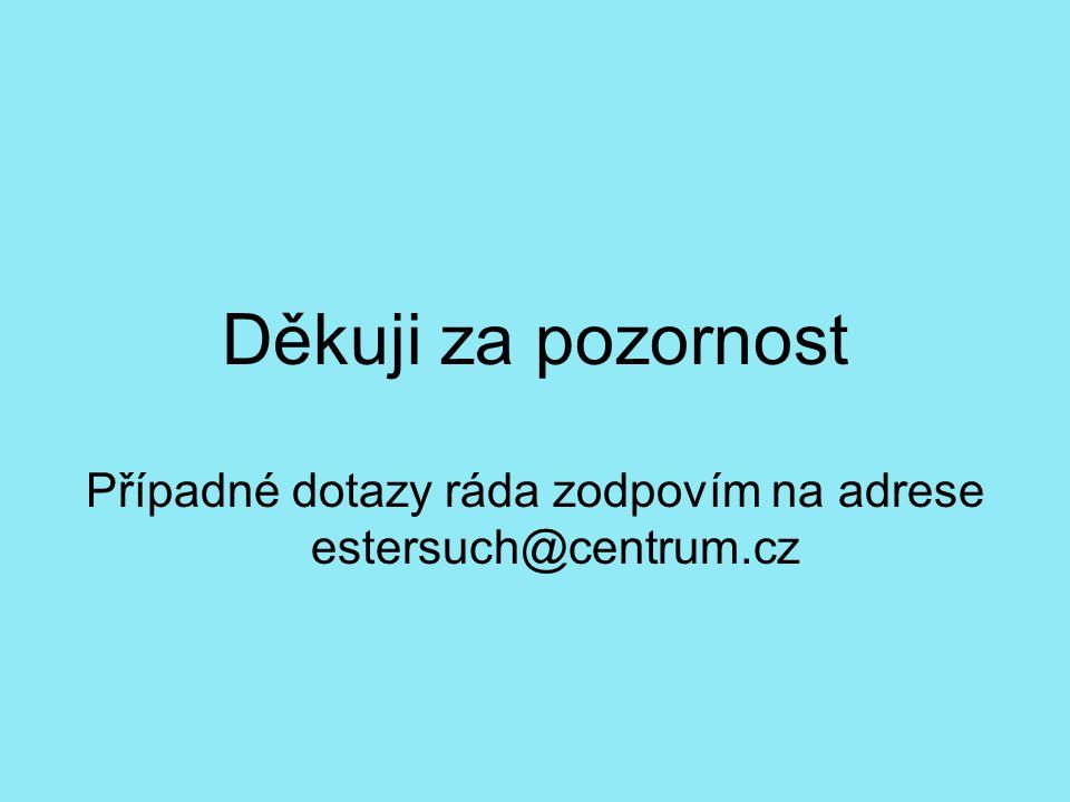 Případné dotazy ráda zodpovím na adrese estersuch@centrum.cz